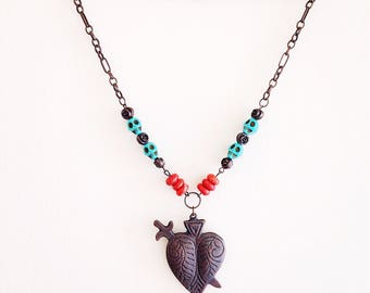Day of the Dead Dia de los Muertos Sacred Heart Necklace