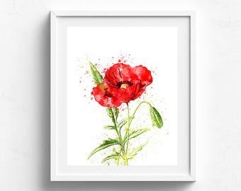 Poppy flower, poppy watercolor, red poppy art, poppy home decor, poppies art, flower art print, red flowers art, floral wall art, garden art