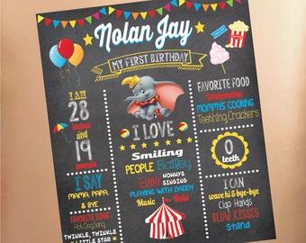 Dumbo Milestone Birthday Chalkboard Poster PDF Digital high-resolution