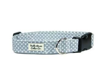 Grey Dog Collar / Polka Dot Collar / Spot Dog Collar / Puppy Collar / Big Dog Collar / Hello Rosie Collar / Dog Collar / Small Dog Collar