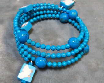 Memory Wire Bracelet - Cuff Bracelet - Turquoise Gemstone Memory Wire Bracelet - Turquoise Bracelet-SRAJD