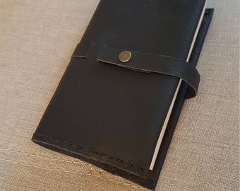 Snap closure black leather book cover