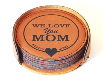 Mothers Day Gift for Mom - Mother's Day Gifts - Personalized Mom Gifts - Leather Coasters