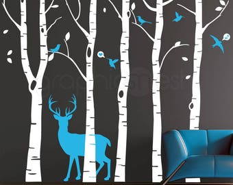 Wall decals Birch TREES + DEER + BIRDS Surface graphics Interior decor Woodsy forest nursery theme
