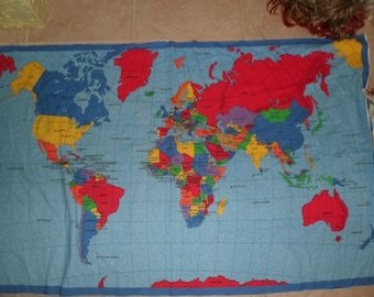 World map vintage etsy au fabric panel world map colorful 35 x 59 gumiabroncs