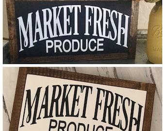 Market Fresh Produce Framed Wood Sign Farmhouse Decor Modern Farmhouse Sign Fixer Upper Style Wood Sign