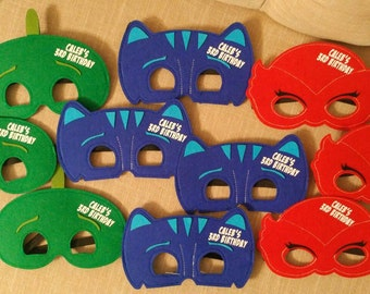 Ready to ship! PJ Mask Birthday Party Favors! Pick Any Mixture of Characters! Felt  Masks!
