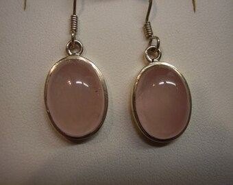 Large Sterling Silver Rose Quartz Dangle Earrings