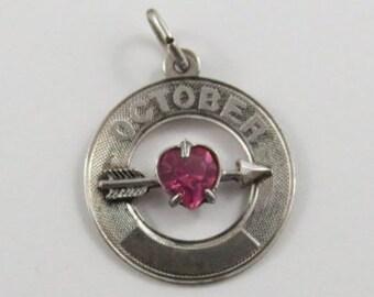 October Heart Birthstone Sterling Silver Vintage Charm For Bracelet