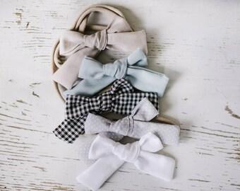 Baby Headband Set - Baby Cotton Headband. Soft Baby Headband. Nylon Headbands. Baby Hair Bows. Toddler Accessories Alligator Clip Bows