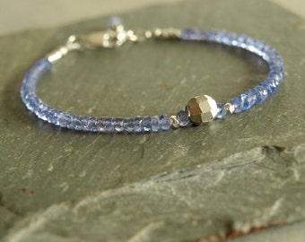 Tanzanite bracelet, December birthstone, sterling, real blue violet tanzanite, small gemstones, large sterling bead, tanzanite jewelry gift