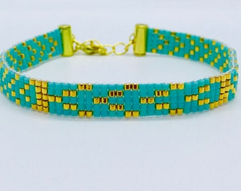 Turquoise and Gold Handwoven Beaded Bracelet