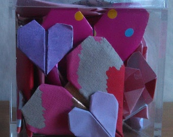 Origami Hearts in a cube (Alternative greeting card)
