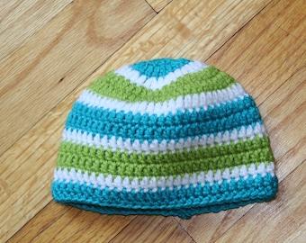Hand Crocheted Blue and Green Beanie