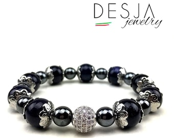 Women's bracelet with hematite aventurine and charm in silver and steel