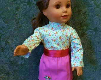 """AG Doll Skirt, Blouse and Belt Set/American Doll Skirt Set/18"""" Doll clothes/Pink Skirt/Gift for Girl/ Under 12/Ready to Ship/Sale!/Doll Belt"""