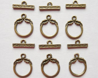 6 Bronze Toggle Clasps