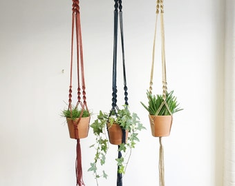 Handmade Macrame Plant Hanger in various colours. Spiral Knotted Design. 3 Strand Indoor Hanging Planted