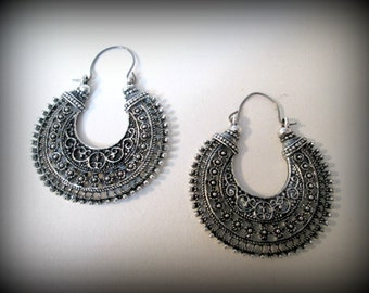 Tribal boho  Earrings , tibetan Silver Earrings , Large Hoop Earrings oxidised Handmade Jewelry