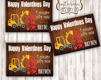 Kids Tractor Construction Heart Valentines Cards- custom rustic tractor valentines cards