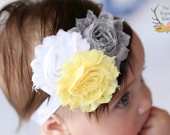 Gray Yellow White Baby Headband Grey- Newborn Infant Baby Toddler Girls Adult Wedding Spring Easter
