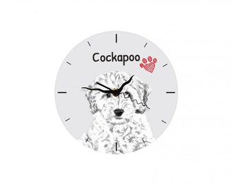 Cockapoo, Free standing MDF floor clock with an image of a dog.