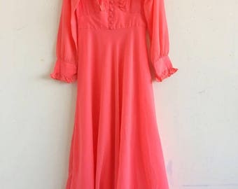 Vintage 70s hot pink coral silk ruffle maxi dress