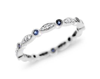 0.28 Ct. Natural Diamonds & Sapphire Eternity Band Milgrain Design 14k White Gold