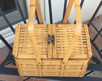 Vintage Woven Bamboo Basket Hinged Basket Purse
