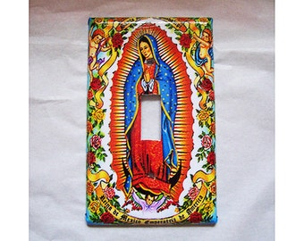 virgin of Guadalupe switch plate cover vintage Mexico light switch kitsch