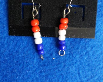Red, white and blue beaded earrings-short