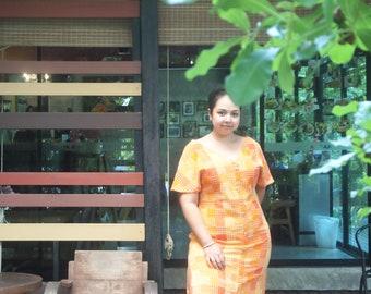 Orange oversize dress, Oversize chic dress, Spring summer dress, Plus size clothes, V- neck line, chilling dress, cotton dress