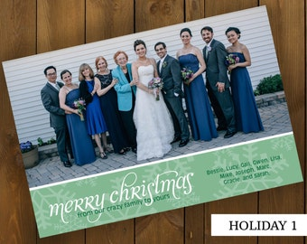 Holiday Christmas Card with Snowflakes and 1 photo