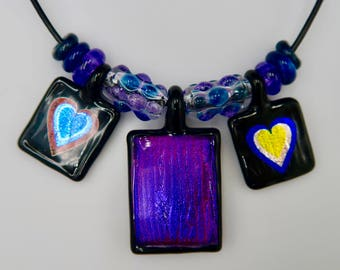 Dichroic Heart Necklace