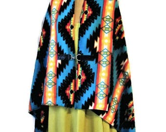 Poncho, Native American, Style, Blue,Shawl, Cape, Womens, Blanket Poncho, Vintage Print, Southwestern, Western, Gift For Her, Handmade Scarf