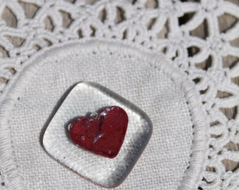 Pocket Heart, Fused Glass and Copper, OOAK gift, wedding favor, pocket stone, memory stone