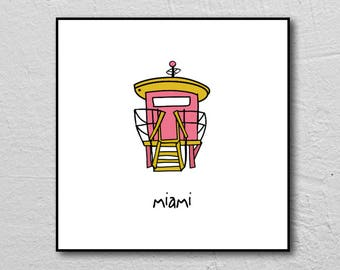 miami. 8x8 FRAMED art print. illustration. jetsons lifeguard station. miami beach. florida. art deco. south beach. tropical. alexandasher.