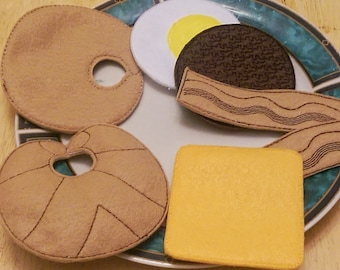 Felt play food - pretend food - play kitchen food - Breakfast Croissant set - egg, sausage, cheese, bacon, and croissant #PF2526