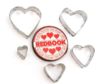 Redbook Tin Heart Shape Cookie Cutters, Vintage Redbook Advertising Aluminum Collectibles, Original Cookie Cutters, Retro Novelty Gifts