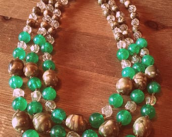 Vintage 50's Green and Brown 3 strand Lucite necklace