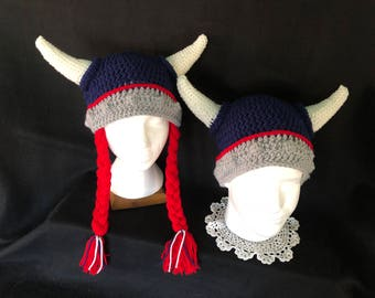 Viking Helmet Hat Braids & Horns; Adult Navy Red Grey Viking Hat; Men/ Women with or without Braids; or Custom Colors!