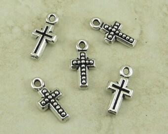 5 TierraCast kleine Perlen Kreuz Charms > Religion katholischer Christ - Silber vergoldet führen kostenlose Zinn - Ich versende International 2195