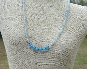 Boho Choker Blue Chalcedony  Gemstone Necklace