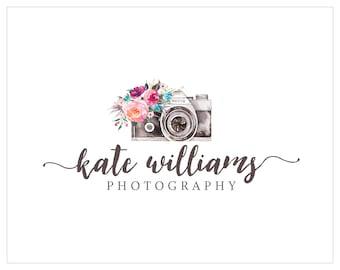 Premade Logo, Photography Logo, Logo Design, Photography Watermark, Camera Logo, Floral Logo  228