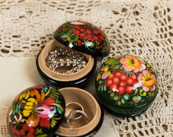 Little black casket for woman jewelry, gift for mom, wife, daughter, sister, handpainted Petrykivka style casket