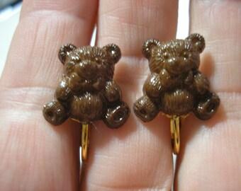 """Play Earring - Clip - Teddy Bear - Brown - 1/2"""""""
