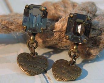 Copper Earrings, Romantic Earrings, Drop Earrings, Boho Jewelry, Love Jewelry, Love Earrings, Crystal Jewelry,