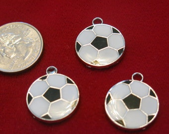 """BULK! 15pc """"soccer ball"""" charms in antique silver style (BC450B)"""