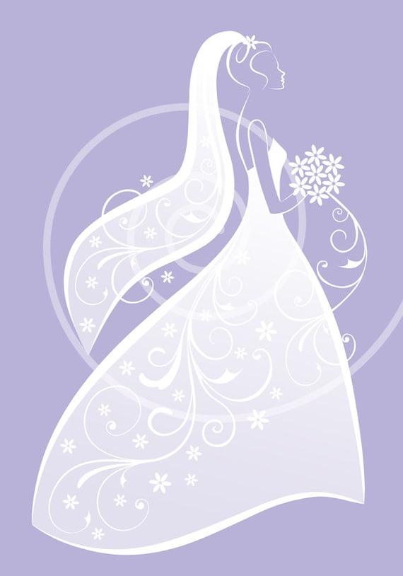 Bride clipart white wedding dress digital clipart for bridal