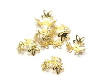 "100 bead caps/bead caps ""triple leaves"" 14 x 5 mm, gold"
